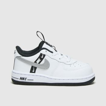 Nike White & Silver Air Force 1 Lv8 Ksa Girls Toddler