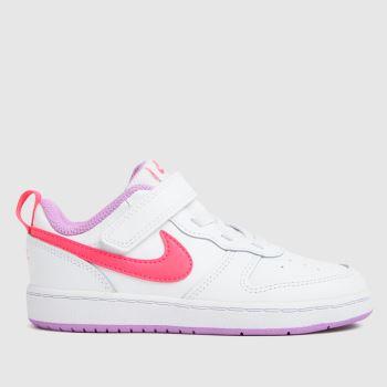 Nike White & Pink Court Borough Low 2 Girls Toddler