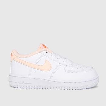 Nike White & Orange Air Force 1 Girls Toddler