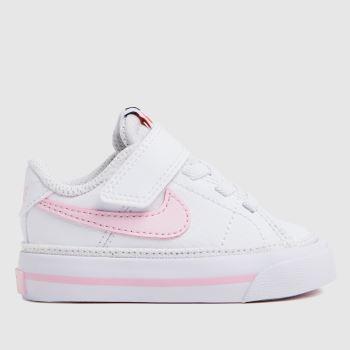 Nike White & Pink Court Legacy Girls Toddler