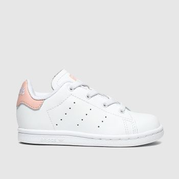 Adidas White & Pink Stan Smith c2namevalue::Girls Toddler
