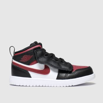 Nike Jordan Black & Red Air Jordan 1 Mid Girls Toddler#