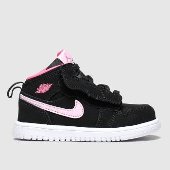 Nike Jordan Black & pink 1 Mid Girls Toddler#