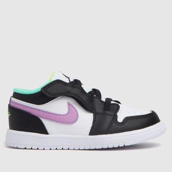 Nike Jordan White & Purple Air Jordan 1 Low Girls Toddler