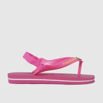 Havaianas Pink Baby Brasil Logo Ii Girls Toddler