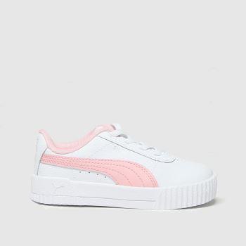 PUMA White & Pink Carina L Girls Toddler