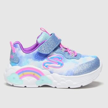 SKECHERS Pale Blue Rainbow Lacer Girls Toddler#
