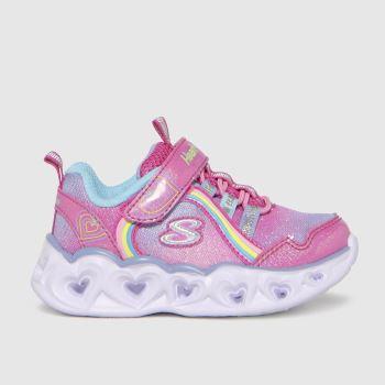 SKECHERS Pink Heart Lights Rainbow Girls Toddler