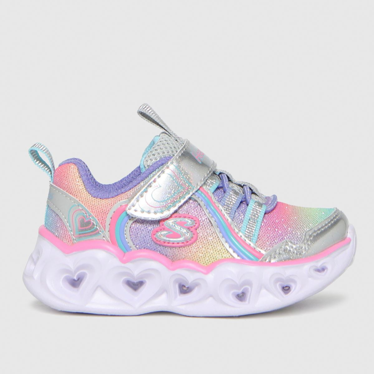 SKECHERS Silver Heart Lights Rainbow Luxe Trainers Toddler