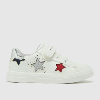 Tommy Hilfiger White & Silver Low Cut Velcro Sneaker Girls Toddler