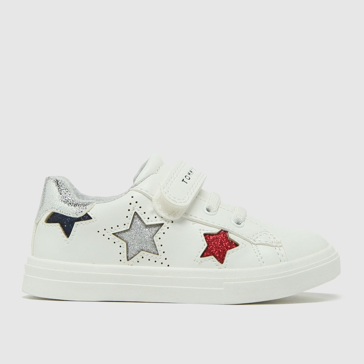 Tommy Hilfiger White & Silver Low Cut Velcro Sneaker Trainers To