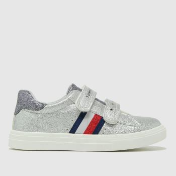 Tommy Hilfiger Silver Low Cut Velcro Sneaker Girls Toddler