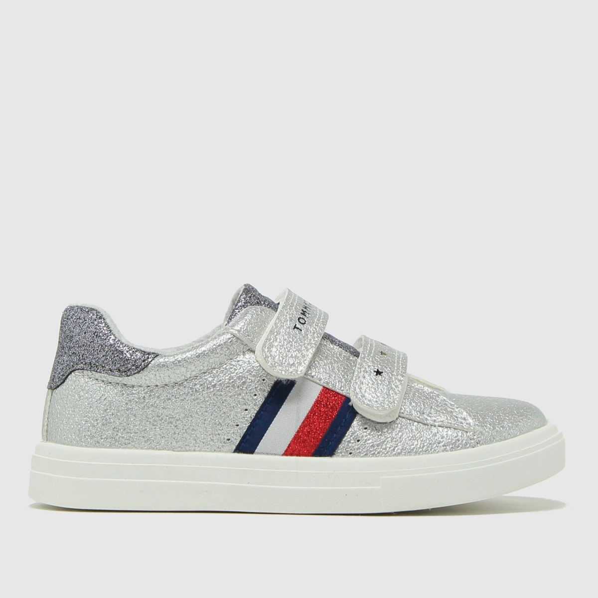 Tommy Hilfiger Silver Low Cut Velcro Sneaker Trainers Toddler