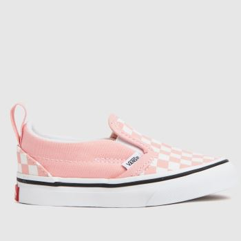 Vans White & Pink Slip-on V Girls Toddler