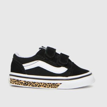 Vans Black & White Old Skool V Leopard Girls Toddler