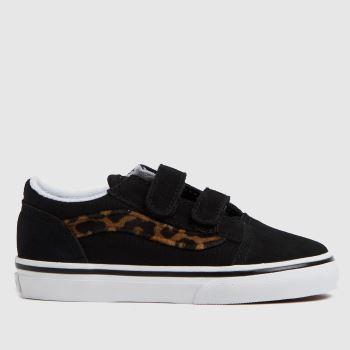 Vans Black & Brown Old Skool V Leopard Girls Toddler