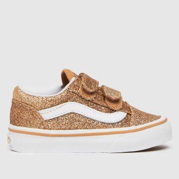 Vans Gold Old Skool V Glitter Girls Toddler