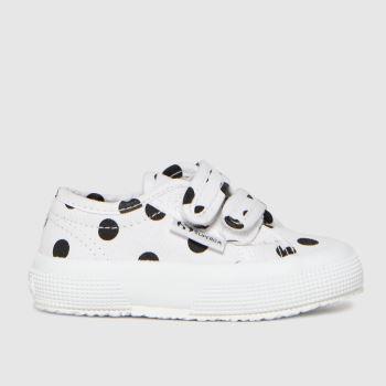 Superga White & Black 2750 Girls Toddler