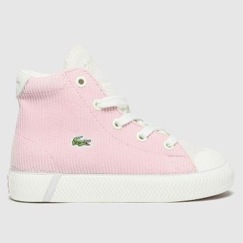 Lacoste White & Pink Gripshot Mid Girls Toddler