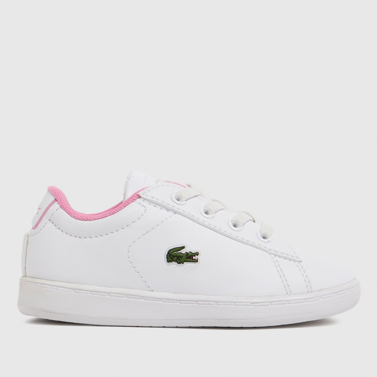 Lacoste White & Pink Carnaby Evo Trainers Toddler