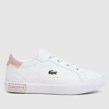 Lacoste White & Pink Powercourt Girls Toddler