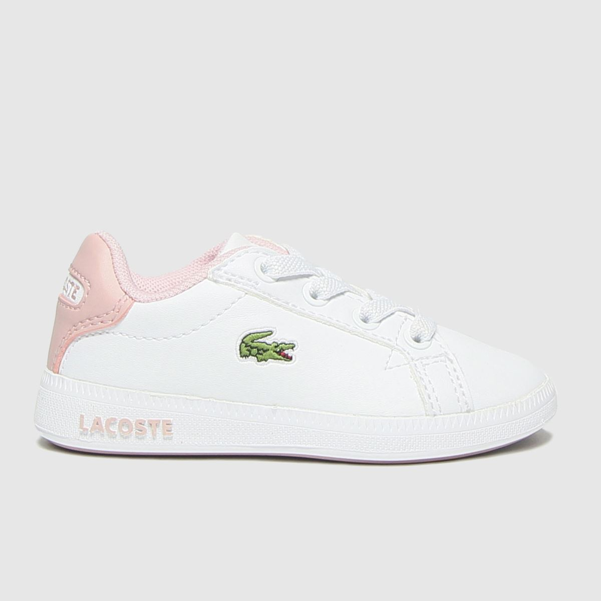 Lacoste White & Pink Graduate Trainers Toddler