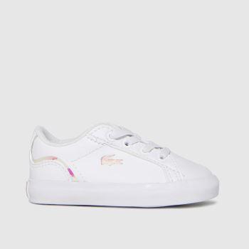 Lacoste White & Pink Lerond Girls Toddler