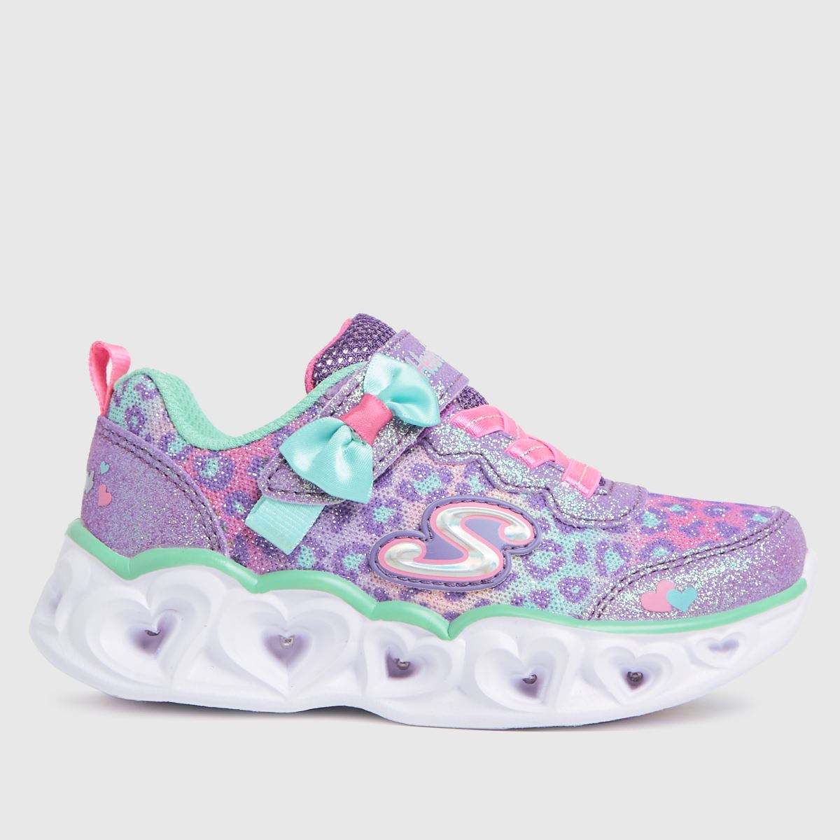 SKECHERS Lilac Heart Lights Trainers Toddler