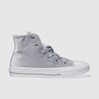 CONVERSE SILVER ALL STAR HI VELVET TRAINERS JUNIOR