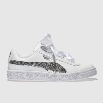 Puma White & Silver Basket Heart Bling Girls Junior