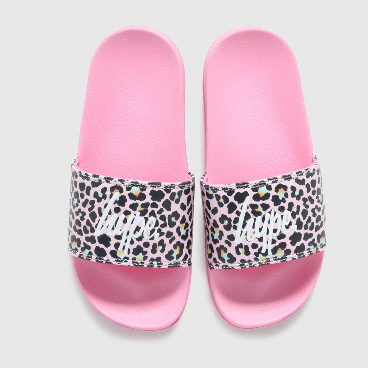 Hype Pink & Black Disco Leopard Sliders Junior