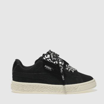 Puma Black & Silver Suede Heart Athluxe Girls Junior