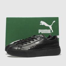 1067e43dd767 Girls black puma basket platform bling trainers