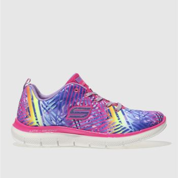 SKECHERS PINK & PURPLE APPEAL 2.0 TASTY TROPICS TRAINERS JUNIOR