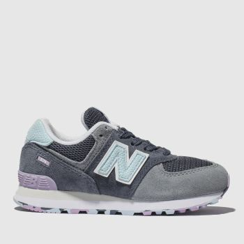 New Balance Grey & Navy 574 Girls Junior