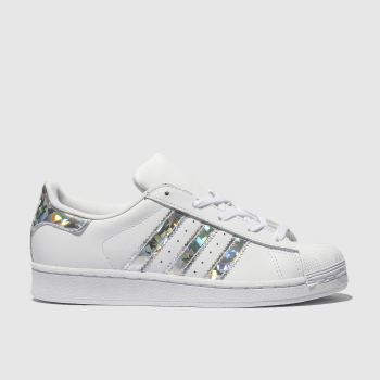 Adidas White & Silver Superstar c2namevalue::Girls Junior