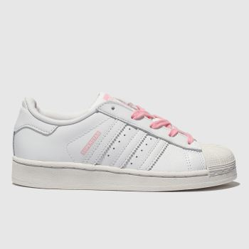 Adidas White & Pink Superstar Girls Junior