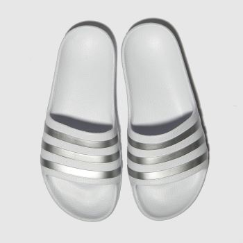 Adidas White & Silver Adilette Aqua Girls Junior#