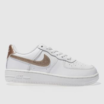 NIKE WHITE & ROSE GOLD AIR FORCE 1 GIRLS JUNIOR TRAINERS