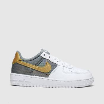 Nike White & grey Air Force 1 Se Girls Junior#