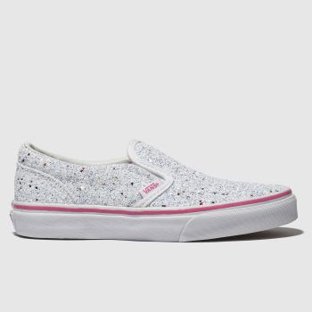 Vans White & Silver Classic Slip-on Girls Junior