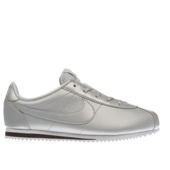 NIKE SILVER CORTEZ SE GIRLS JUNIOR TRAINERS