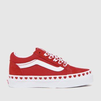 Vans red old skool trainers junior