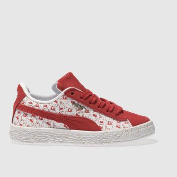 Puma White Suede X Hello Kitty Girls Junior