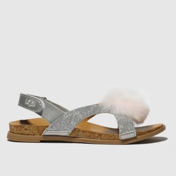 ugg silver fonda glitter pom sandals junior