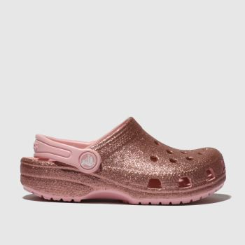 Crocs Pink Classic Glitter Clog Girls Junior