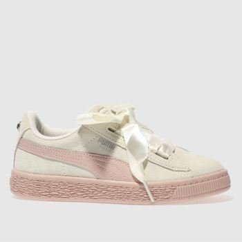 Puma White Suede Heart Jewel Girls Junior