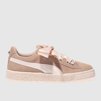 Puma Pink Suede Heart Jewel Girls Junior