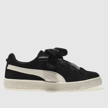 Puma Black & White SUEDE HEART JEWEL Girls Junior