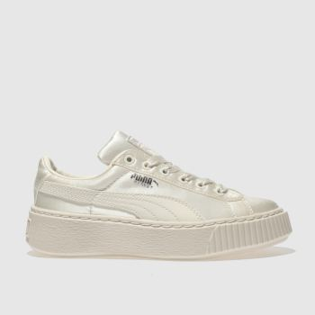 Puma White Basket Platform Tween Girls Junior